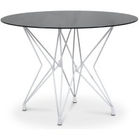 Zoo spisebord Ø106 cm - Hvit / Tonet glass