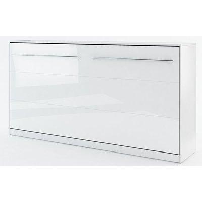 Sengeskap compact living horisontalt (90 x 200 cm fellbar seng) - Hvit høyglans