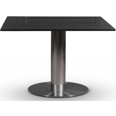 SOHO spisebord 90x90 cm - Børstet aluminium / Svart granitt