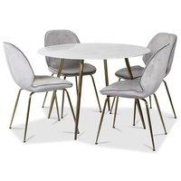 Art spisegruppe: Rundt bord marmor/Messing + 4 st Deco stoler lysegrå fløyel / messing