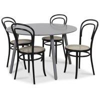 Rosvik spisegruppe grått rundt bord med 4 st Thonet stoler - Grå / Svarte