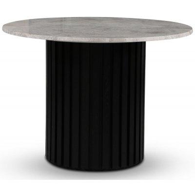 Sumo spisebord Ø105 cm - Svartbeiset / Sølvmarmor