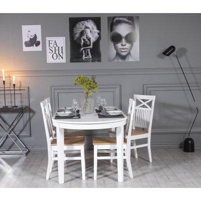 Gåsö spisegruppe: Bord 160/210 cm inkludert 4 Fårö stoler med kryss - Eik/hvit