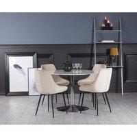 Plaza spisegruppe, marmorbord med 4 st Theo fløyelstoler - Beige/Hvit/Krom