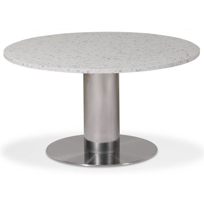 Next 85 rundt stuebord - Børstet stål / terrazzo (Bianco)