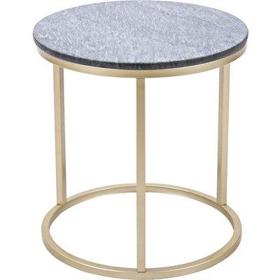 Accent sofabord rundt 50 - Grå marmor/messingfarget understell