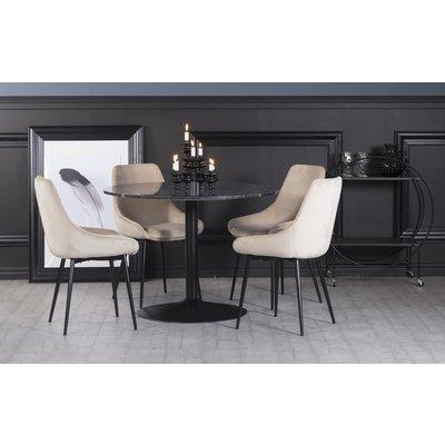 Plaza spisegruppe, marmorbord med 4 st Theo fløyelstoler - Beige/Grå/Svart