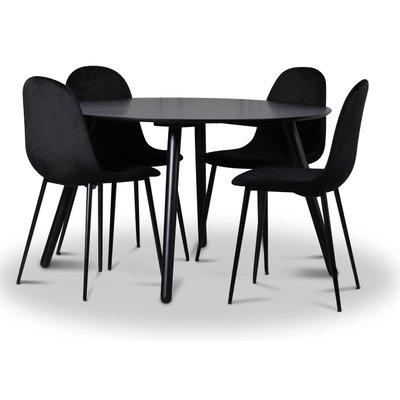 Rosvik spisegruppe, spisebord med 4 stk Carisma fløyelsstoler - Svart/Svart
