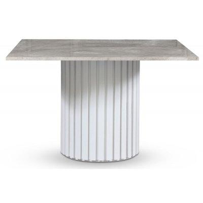 Empire spisebord - Grå marmor / Hvit lamell trefot