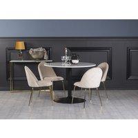 Plaza spisegruppe, marmorbord med 4 st Plaza fløyelstoler - Beige/Hvit/Svart