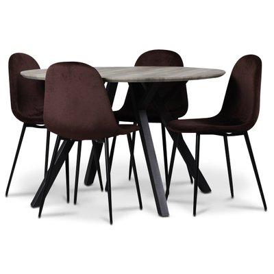 Smokey spisegruppe, rundt spisebord med 4 stk Carisma fløyelsstoler - Bordeaux