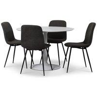 Seat spisegruppe, rundt spisebord med 4 stk Smokey spisestoler - Hvit/Vintage