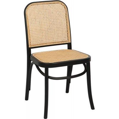 Indiana bøyetre stol - Svart med rottingsete