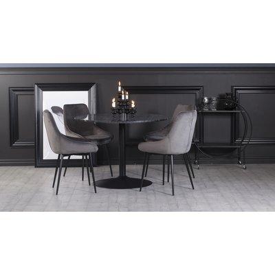 Plaza spisegruppe, marmorbord med 4 st Theo fløyelstoler - Grå/Svart