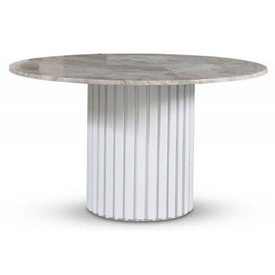 Empire spisebord - Sølv diana marmor 130 cm / Hvit lamell trefot
