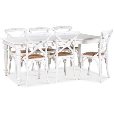 Paris spisegruppe 180 cm bord hvit+ 6 st hvite Gaston spisestoler