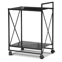 Serveringsvogn Paladium - Sort / Sort marmorglass
