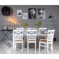 Gåsö spisegruppe: Bord 180 cm inkludert 6 Fårö stoler med kryss - Hvit/Eik