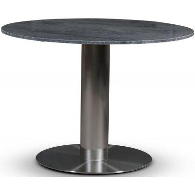 SOHO spisebord Ø105 cm - Børstet aluminium / Grå marmor