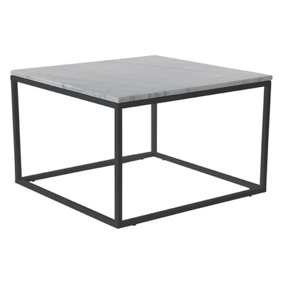 Accent sofabord 75 - Hvit marmor / sort understell