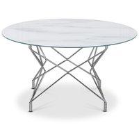 Stuebord Star 90 cm - Hvitt marmorert glass / forkrommet understell