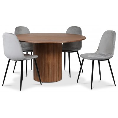 Pose spisegruppe: Bord Ø130 cm inkludert 4 stk carisma stoler - Valnøtt