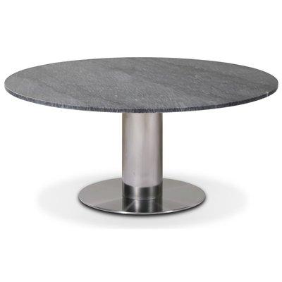 Next 105 rundt stuebord - Børstet stål / Marmor (Grå)