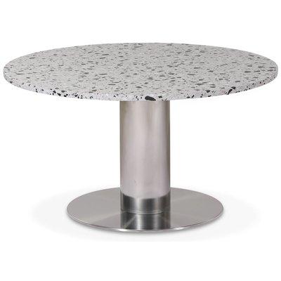 Next 85 rundt stuebord - Børstet stål / terrazzo (Cosmos)