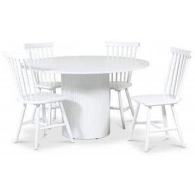 Pose spisegruppe: Bord Ø130 cm inkludert 4 stk Fårö pinnestoler - Hvitbeiset eik