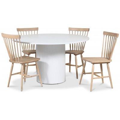 Pose spisegruppe: Bord Ø130 cm inkludert 4 stk pinnestoler - Hvitbeiset eik