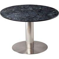 Next 105 rundt spisebord - Børstet stål / Granitt (Svart)