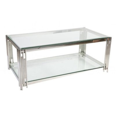 Prato sofabord 130 - Krom/glass