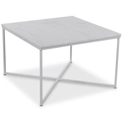 Maryland sofabord 75x75 cm - Hvit ekte Marmor / Hvit