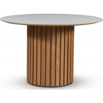 Sumo spisebord Ø118 cm - Oljet eik / Perstorp hvit laminat