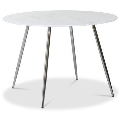 Art rundt spisebord 110 cm - Marmorert glass / Krom