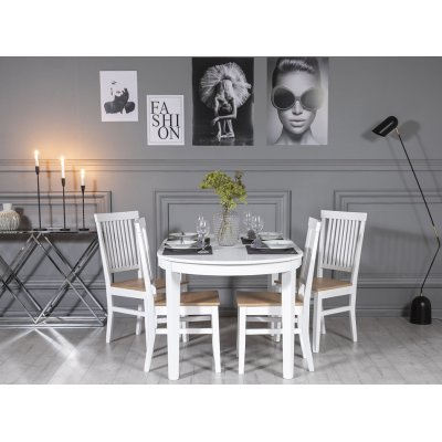 Gåsö spisegruppe: Bord 160/210 cm inkludert 4 Fårö stoler - Eik/hvit