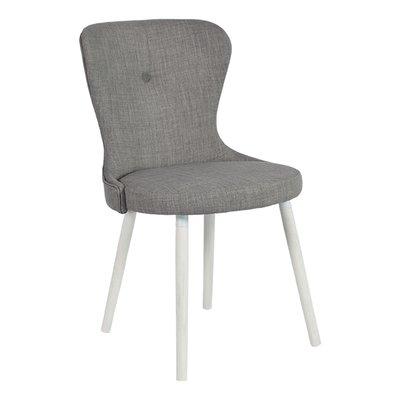 Betty stol med hvit ben - Lysegrått tøystoff