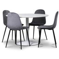 Seat spisegruppe, rundt spisebord med 4 stk Carisma fløyelsstoler - Hvit/Grå