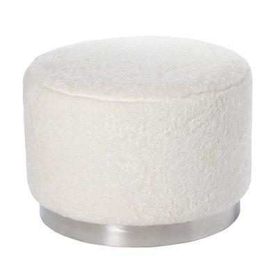 Furry sittepuff 50 cm - Hvit / Krom