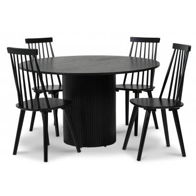 Pose spisegruppe: Bord Ø130 cm inkludert 4 stk dalsland pinnestoler - Svart