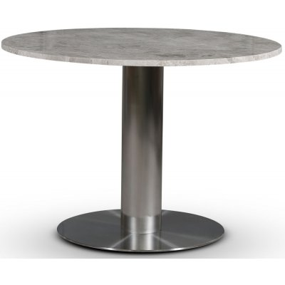 SOHO spisebord Ø105 cm - Børstet aluminium / Sølvmarmor