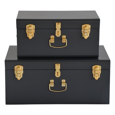 Matteus koffert X 2 (mørkegrå | messing)