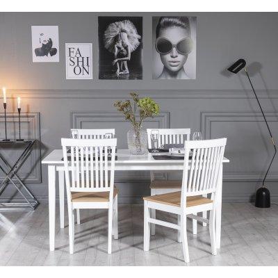 Gåsö spisegruppe: Bord 150 cm inkludert 4 Fårö stoler - Eik/hvit
