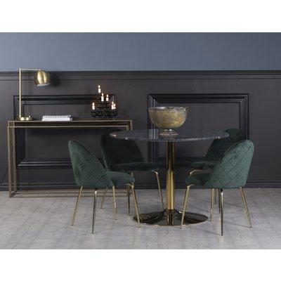 Plaza spisegruppe, marmorbord med 4 st Plaza fløyelstoler - Grønn/Grå/Messing
