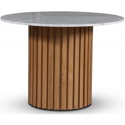 Sumo spisebord Ø105 cm - Oljet eik / Lys marmor