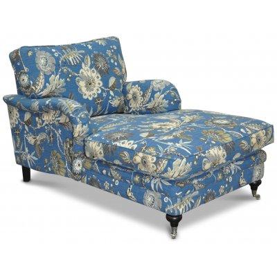 Savoy lenestol med blomstret stoff - Havanna blå