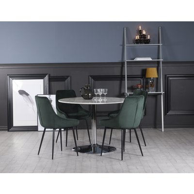 Plaza spisegruppe, marmorbord med 4 st Theo fløyelstoler - Grønn/Hvit/Krom