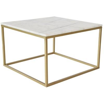 Accent sofabord 75 - Hvit marmor / Messingfarget underdel