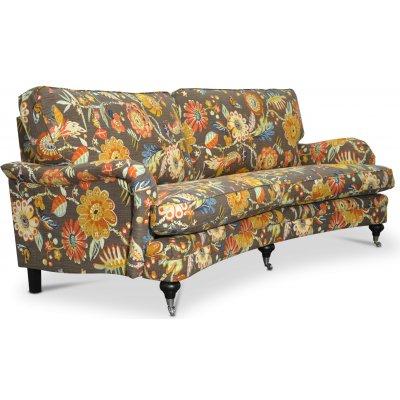Savoy 3-seters buet sofa med blomsterstoff - Havanna Brown