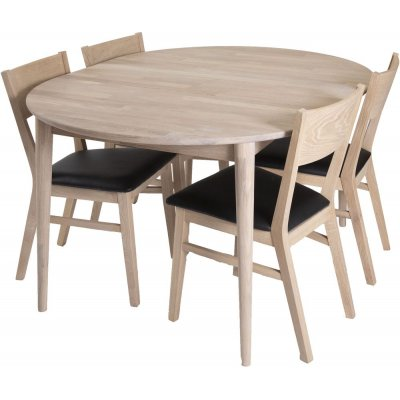 Odense spisegruppe inkl. 4 stk Flen stoler - Hvitoljet eik/Svart PU